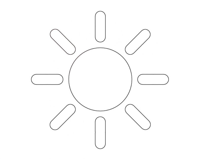 Трафарет солнышко для вырезания из бумаги