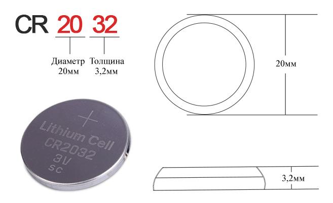 Батарейка CR2032 размеры